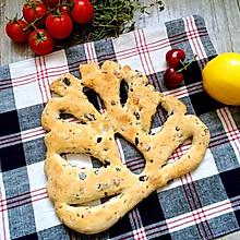 普罗旺斯香草面包(黑橄榄培根Fougasse)