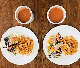 #换着花样吃早餐#金枪鱼意大利面与鲜虾蔬菜沙拉的做法