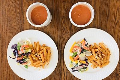金枪鱼意大利面与鲜虾蔬菜沙拉