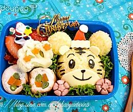 小虎圣诞节可爱便当的做法