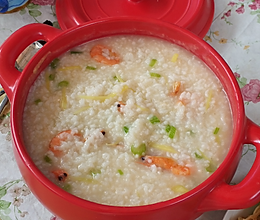 鲜虾白米粥潮汕砂锅粥的做法