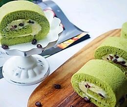 无油抹茶蛋糕卷❗奶酪蜜豆馅的做法