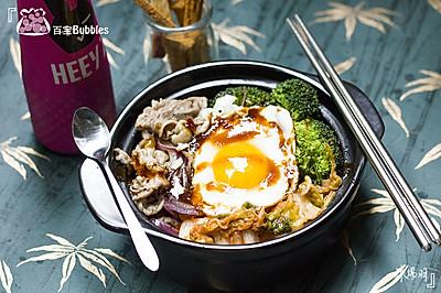 韩式泡菜肥牛石锅饭