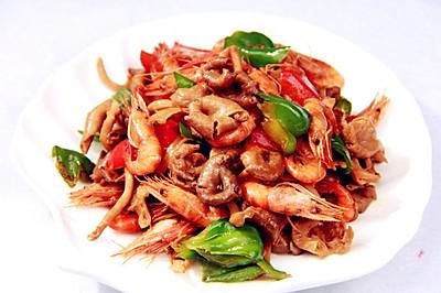 瑜黄蘑炒河虾