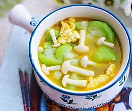 低脂美味的丝瓜菌菇鸡蛋汤的做法