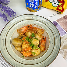 口蘑焖虾仁