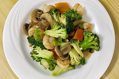 西蘭花蘑菇炒蝦仁
