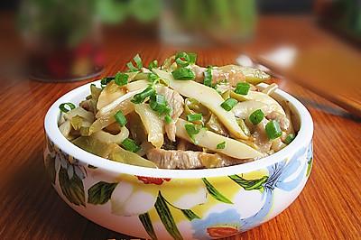 白灵菇榨菜炒肉丝