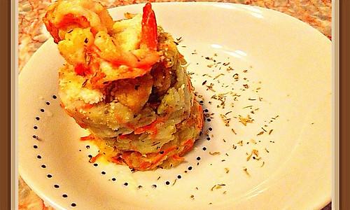 酒烹虾配龙利鱼黄油杂菜土豆泥的做法