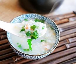 青菜鲜虾粥的做法