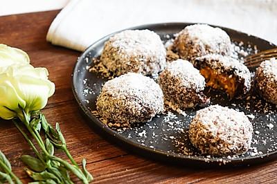 夏日清凉甜品——椰蓉黑米南瓜球