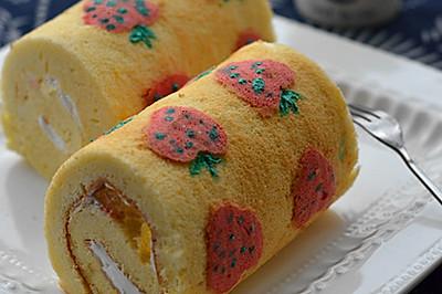 手绘草莓蛋糕卷 #长帝烘焙节 #