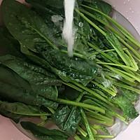 鲜虫草花拌菠菜的做法图解1