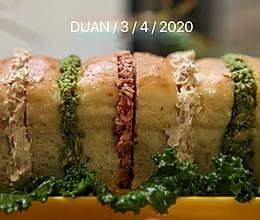 #换着花样吃早餐#蘑菇头面包三明治的做法