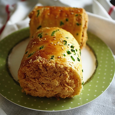 葱香肉松面包卷 中种法