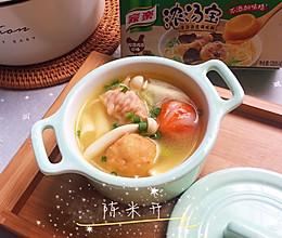 清新可口的快手火锅汤料丝瓜鸡汤的做法