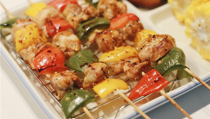 彩椒鸡肉烤串