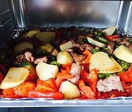 肉片烤杂蔬的做法