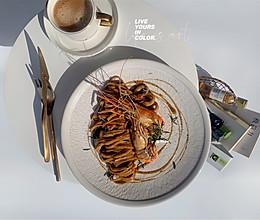 #换着花样吃早餐#高颜值又好吃-海鲜意面的做法