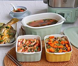 低卡家常菜—— 粉丝蒸虾+海带山药汤+南瓜口蘑糙米焖饭的做法