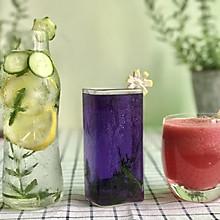 柠檬黄瓜薄荷饮料+西瓜汁+蜂蜜蓝蝴蝶茶