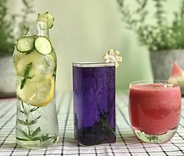 柠檬黄瓜薄荷饮料+西瓜汁+蜂蜜蓝蝴蝶茶的做法