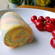 #夏日撩人滋味#今天你看到彩虹了吗~花样蛋糕卷
