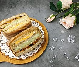 营养美味的芝士肉松三明治(含折纸法)的做法