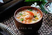 秋季补脾虚调五脏的五彩鲜虾粥的做法