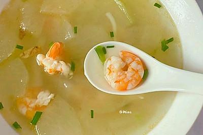 10分钟做祛湿刮油汤!!巨鲜美冬瓜鲜虾汤!!