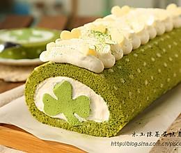 ~水玉抹茶夹心蛋糕卷~一抹清新绿的做法