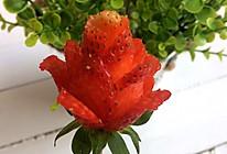盛开的草莓玫瑰花的做法