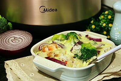 什蔬海虾芝士焗饭#美的女王节#