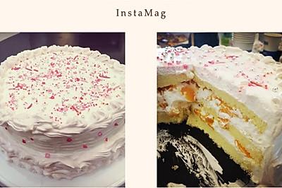 8寸戚风黄桃水果蛋糕
