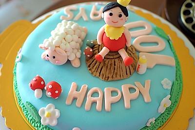 宝宝100days翻糖蛋糕(原创)