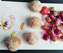 南瓜糯米滋配麻球百合水果球的做法