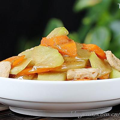 5分钟炒出养颜减肥瘦身菜--佛手瓜炒胡萝卜