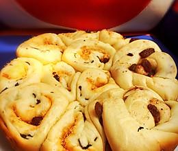 肉松葱香&豆沙葡萄干面包 电饭煲版(任何家庭都能做)的做法