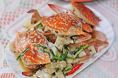 姜葱焗花蟹
