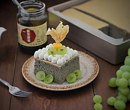 黑芝麻水果奶油蛋糕:的做法