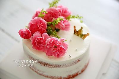 红丝绒鲜花裸蛋糕