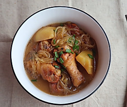 家常菜|鸡肉土豆炖粉条的做法