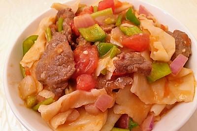 新疆菜  牛肉炒面片