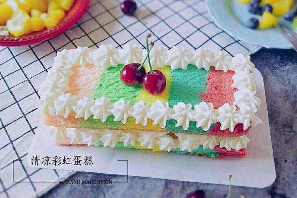 有颜值的清凉彩虹蛋糕#有颜值的实力派#的做法