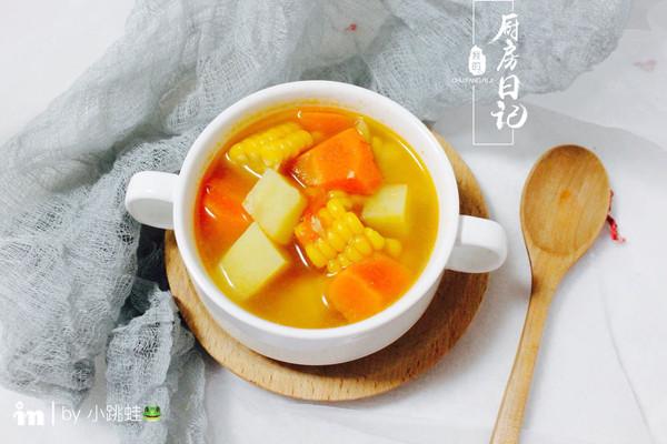 土豆胡萝卜玉米养生汤的做法