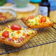 鲜虾培根吐司披萨