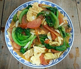 西红柿鸡蛋烫生菜的做法