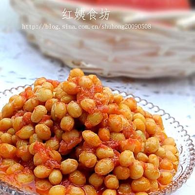 西红柿焗黄豆