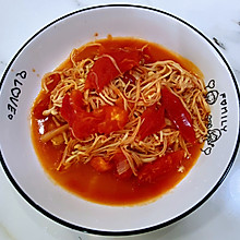 【孕妇食谱】番茄炒金针菇,红白搭配,营养丰富还超级下饭!