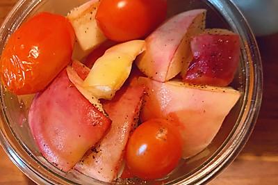香甜的烤桃子